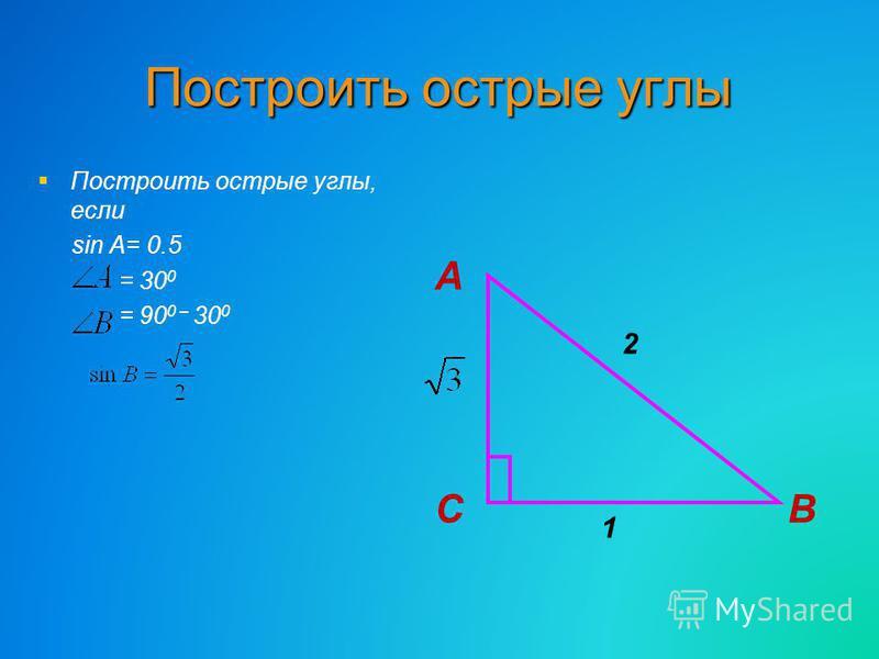 Построить острые углы Построить острые углы, если sin A= 0.5 = 30 0 = 90 0 – 30 0 СВ 1 А 2