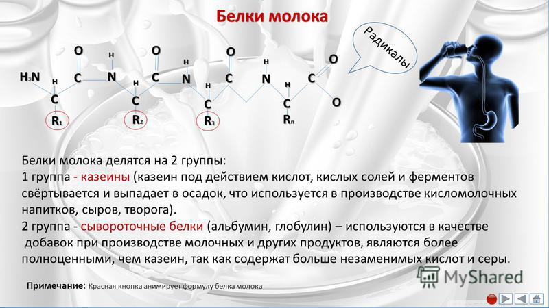 Молочный жир R1R1R1R1 O 1 2 O R2R2R2R2 O 3 R3R3R3R3 Компоненты молочного жира: триглицериды (98-99%), лецитин, кефалин, холестерин, эргостерин, жирорастворимые витамины, свободные жирные кислоты. В составе триглицеридов насыщенные жирные кислоты сост