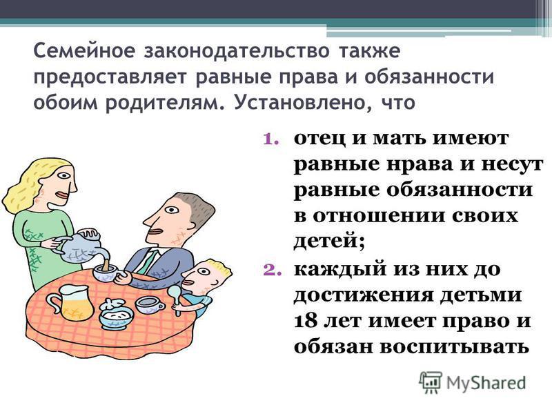 Семейное законодательство также предоставляет равные права и обязанности обоим родителям. Установлено, что 1. отец и мать имеют равные нрава и несут равные обязанности в отношении своих детей; 2. каждый из них до достижения детьми 18 лет имеет право