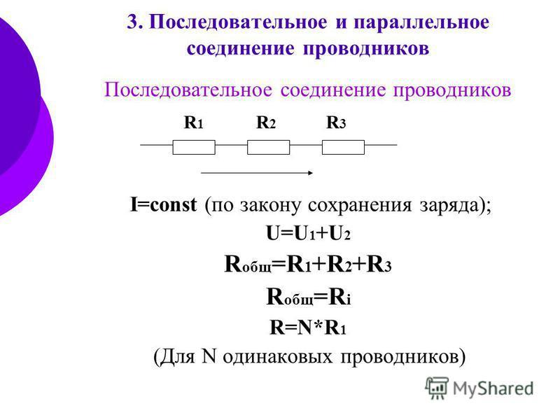 3. Последовательное и параллельное соединение проводников Последовательное соединение проводников I=const (по закону сохранения заряда); U=U 1 +U 2 R общ =R 1 +R 2 +R 3 R общ =R i R=N*R 1 (Для N одинаковых проводников) R1R1 R2R2 R3R3