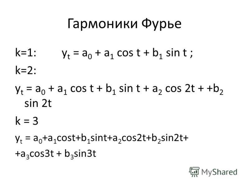 Гармоники Фурье k=1: y t = a 0 + a 1 cos t + b 1 sin t ; k=2: y t = a 0 + a 1 cos t + b 1 sin t + a 2 cos 2t + +b 2 sin 2t k = 3 y t = a 0 +a 1 cost+b 1 sint+a 2 cos2t+b 2 sin2t+ +a 3 cos3t + b 3 sin3t