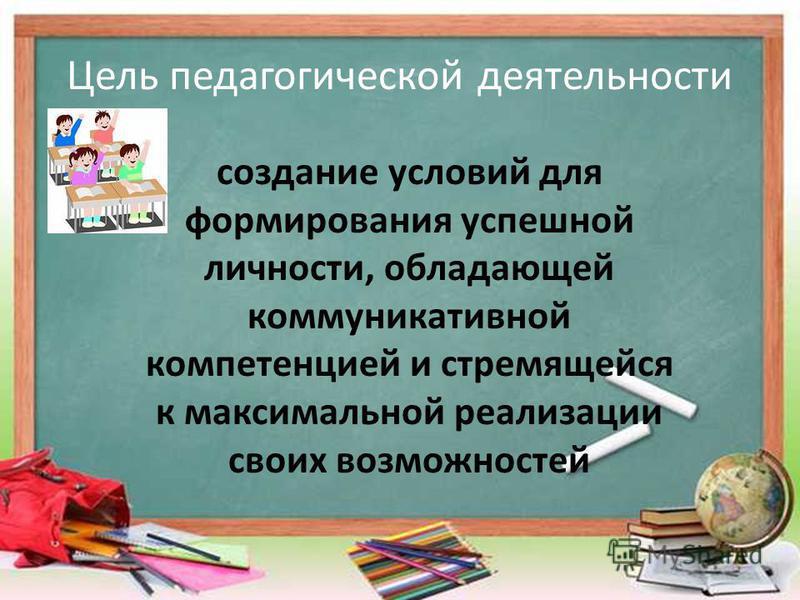 Цель педагогической деятельности создание условий для формирования успешной личности, обладающей коммуникативной компетенцией и стремящейся к максимальной реализации своих возможностей