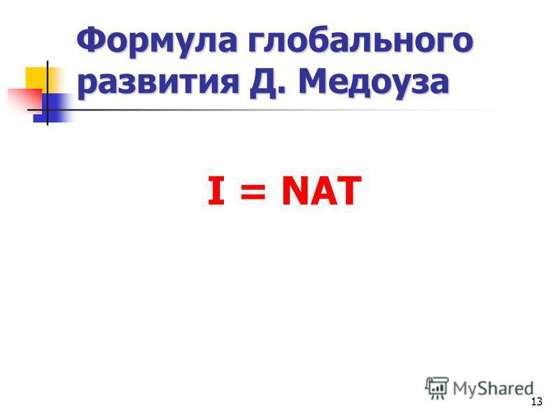 13 Формула глобального развития Д. Медоуза I = NAT