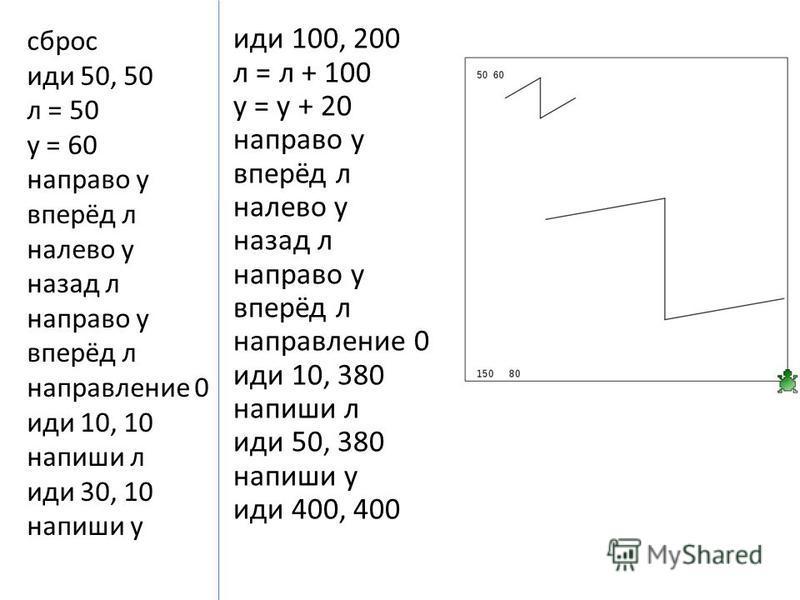 сброс иди 50, 50 л = 50 у = 60 направо у в перёд л налево у назад л направо у в перёд л направление 0 иди 10, 10 напиши л иди 30, 10 напиши у иди 100, 200 л = л + 100 у = у + 20 направо у в перёд л налево у назад л направо у в перёд л направление 0 и