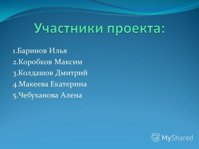 1. Баринов Илья 2. Коробков Максим 3. Колдашов Дмитрий 4. Макеева Екатерина 5. Чебуханова Алена