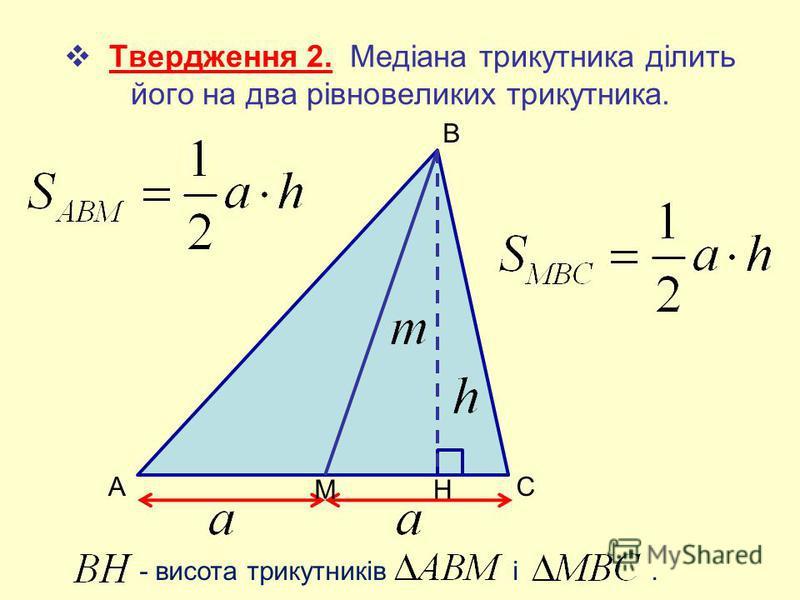 - висота трикутників і. Твердження 2. Медіана трикутника ділить його на два рівновеликих трикутника. AC В МН