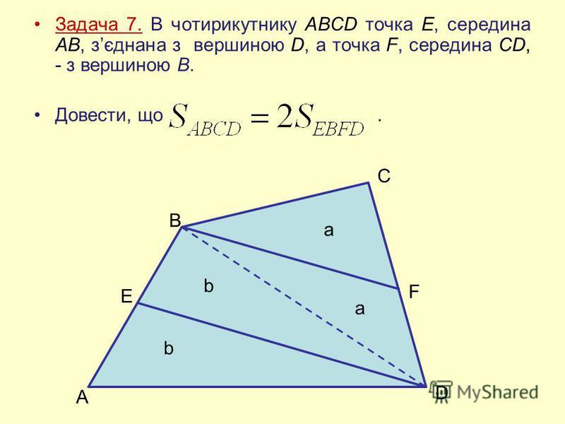 Задача 7. В чотирикутнику ABCD точка Е, середина АВ, зєднана з вершиною D, а точка F, середина CD, - з вершиною В. Довести, що. A E B C F D b b a a