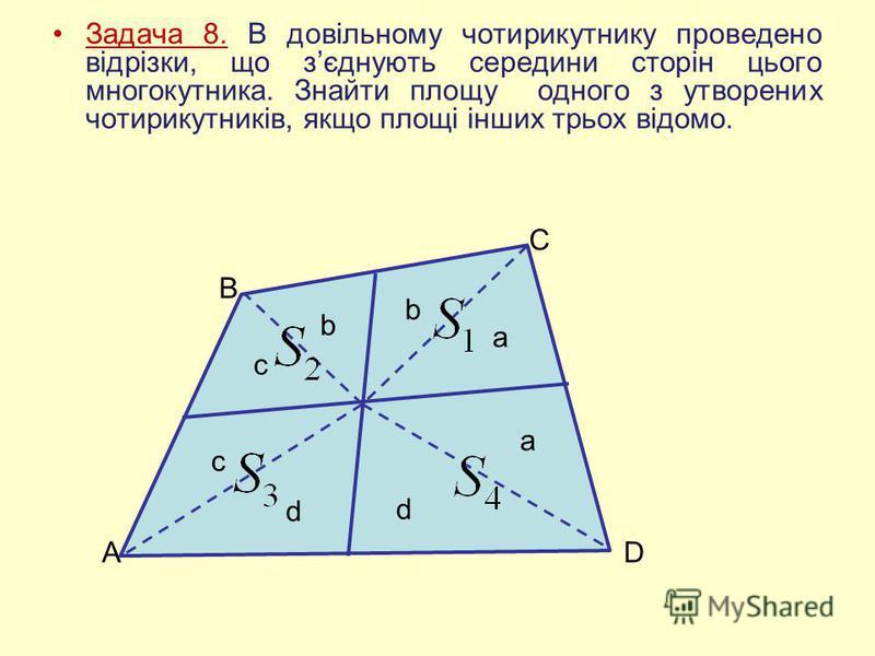 Задача 8. В довільному чотирикутнику проведено відрізки, що зєднують середини сторін цього многокутника. Знайти площу одного з утворених чотирикутників, якщо площі інших трьох відомо. A B C D c c b b a a d d