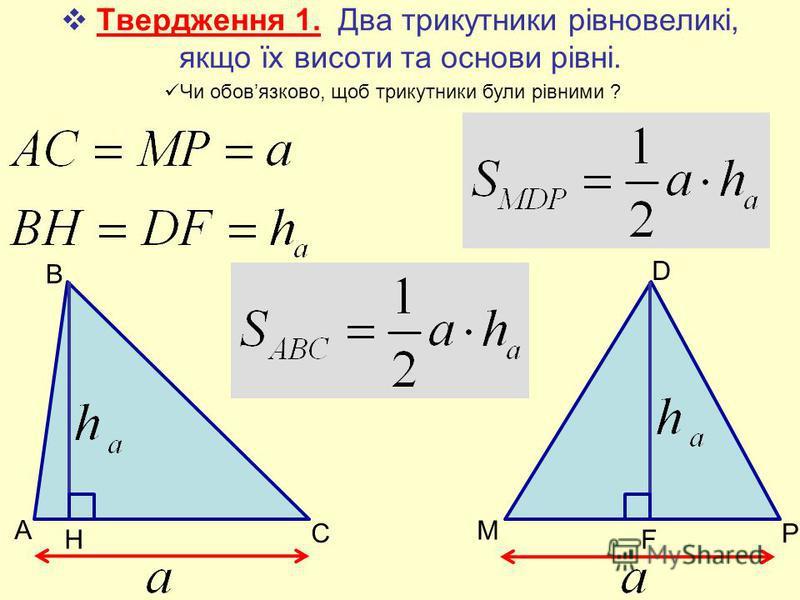 Твердження 1. Два трикутники рівновеликі, якщо їх висоти та основи рівні. A B C Н М D P F Чи обовязково, щоб трикутники були рівними ?