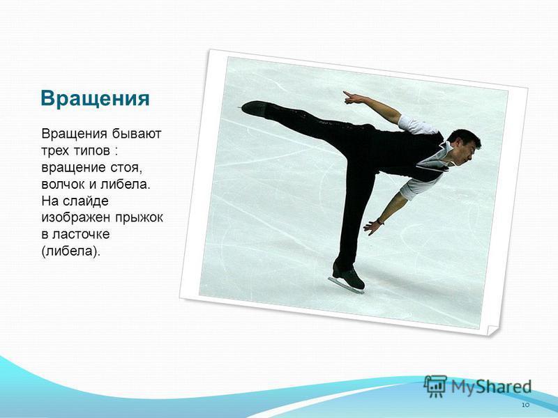 Вращения Вращения бывают трех типов : вращение стоя, волчок и либела. На слайде изображен прыжок в ласточке (либела). 10