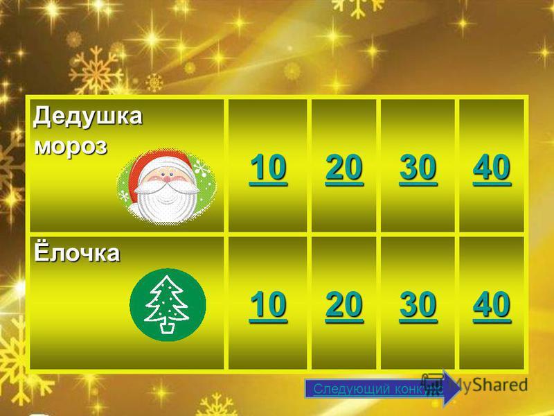 Дедушка мороз 10 20 30 40 Ёлочка 10 20 30 40 Следующий конкурс