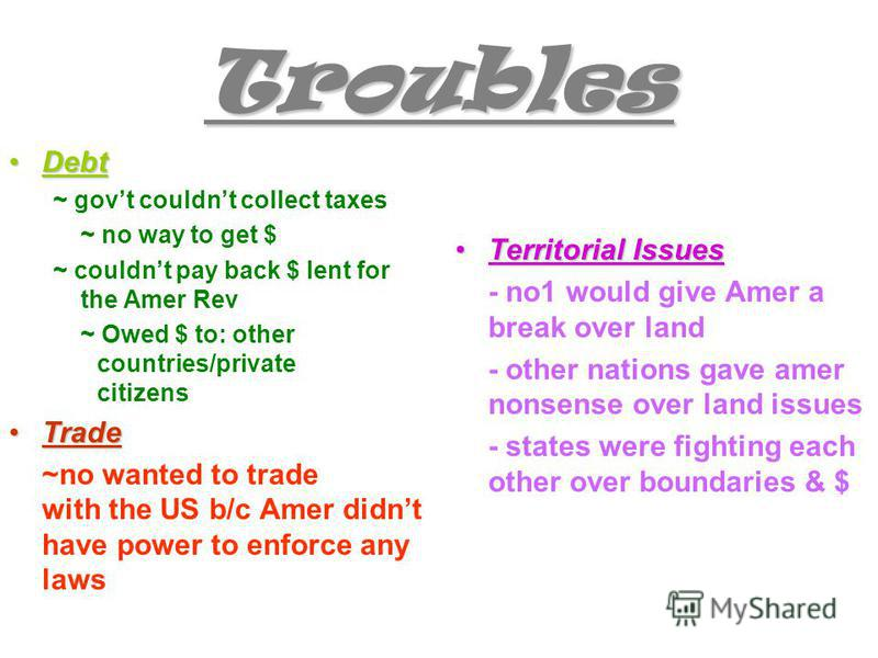 Troubles DebtDebt ~ govt couldnt collect taxes ~ no way to get $ ~ couldnt pay back $ lent for the Amer Rev ~ Owed $ to: other countries/private citizens TradeTrade ~no wanted to trade with the US b/c Amer didnt have power to enforce any laws Territo