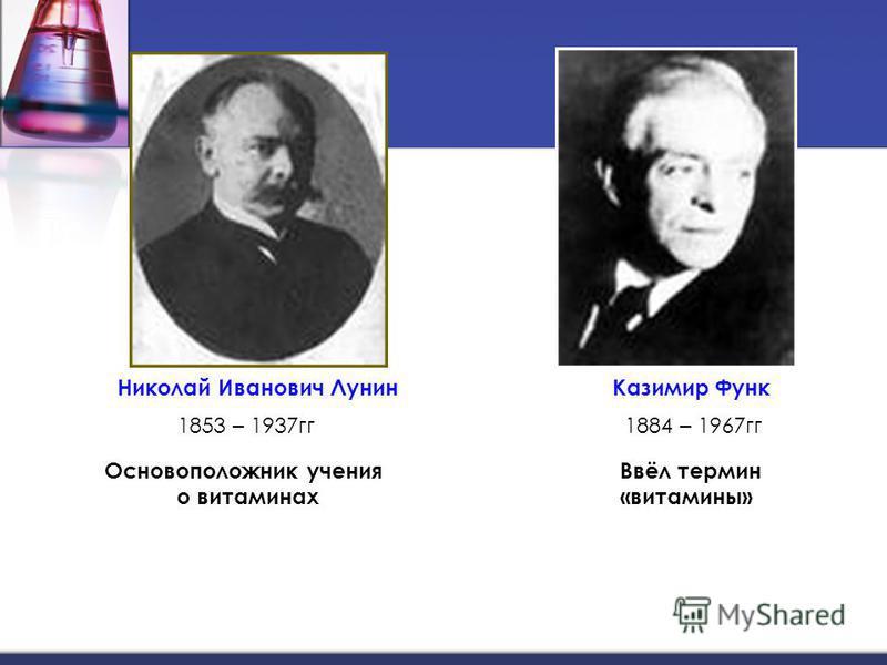 Николай Иванович Лунин Казимир Функ 1853 – 1937 гг 1884 – 1967 гг Основоположник учения о витаминах Ввёл термин «витамины»