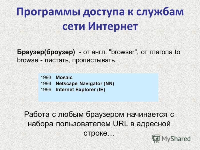 Программы доступа к службам сети Интернет Браузер(броузер) - от англ.