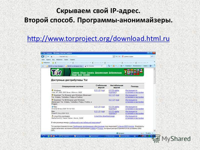 Скрываем свой IP-адрес. Второй способ. Программы-анонимайзеры. http://www.torproject.org/download.html.ru