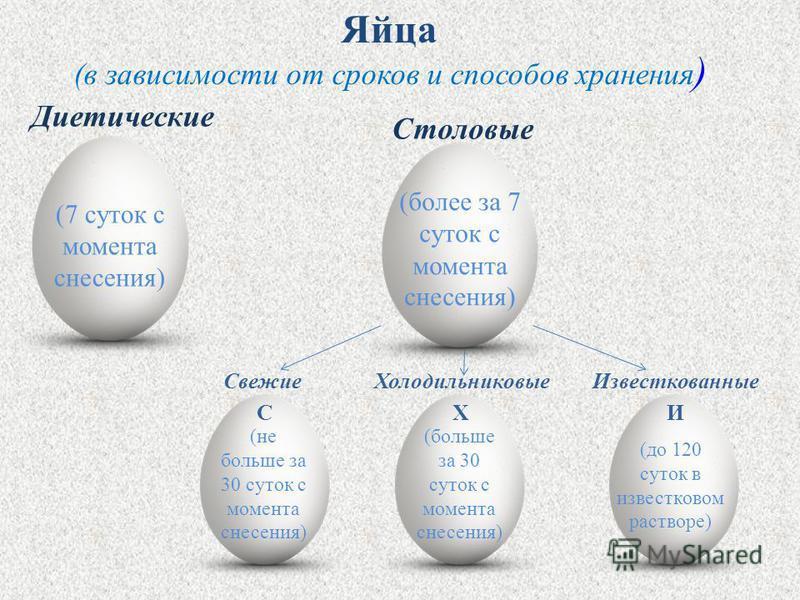 (в зависимости от сроков и способов хранения ) Яйца (7 суток с момента снесения) Диетические (более за 7 суток с момента снесения) Столовые (не больше за 30 суток с момента снесения) Свежие (больше за 30 суток с момента снесения) Холодильниковые (до