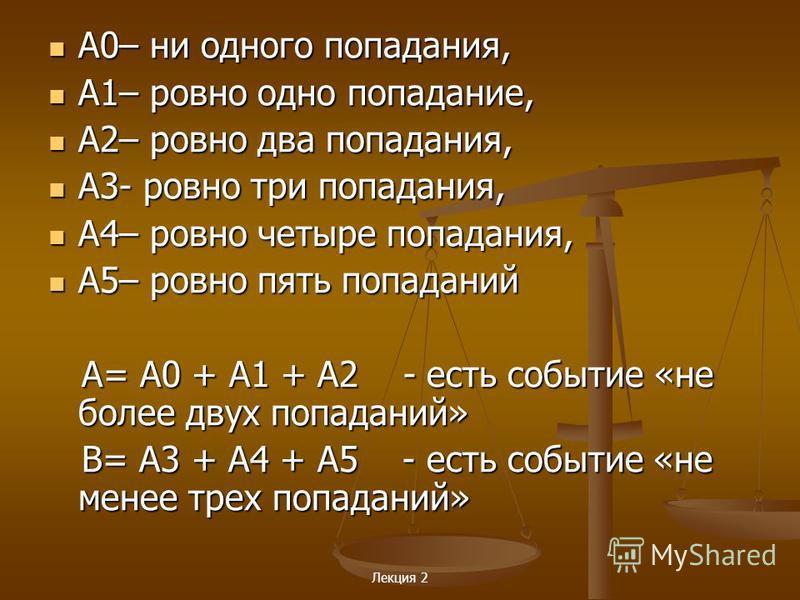 Лекция 2 A0– ни одного попадания, A0– ни одного попадания, A1– ровно одно попадание, A1– ровно одно попадание, A2– ровно два попадания, A2– ровно два попадания, A3- ровно три попадания, A3- ровно три попадания, A4– ровно четыре попадания, A4– ровно ч