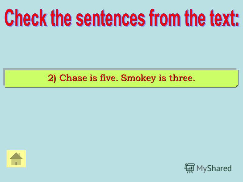 2) Chase is five. Smokey is three.
