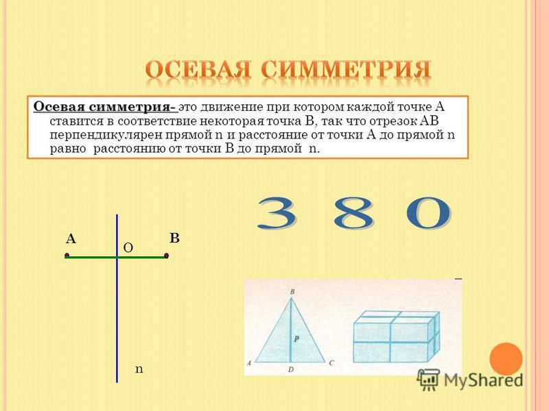 Осевая симметрия- Осевая симметрия- это движение при котором каждой точке А ставится в соответствие некоторая точка В, так что отрезок АВ перпендикулярен прямой n и расстояние от точки А до прямой n равно расстоянию от точки В до прямой n. B A O n