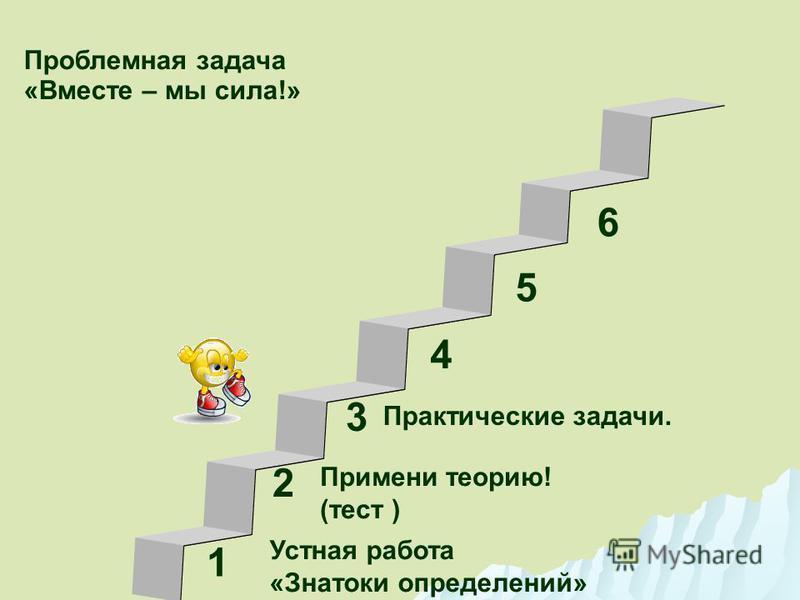 1 3 2 4 5 6 Устная работа «Знатоки определений» Проблемная задача «Вместе – мы сила!» Примени теорию! (тест ) Практические задачи.