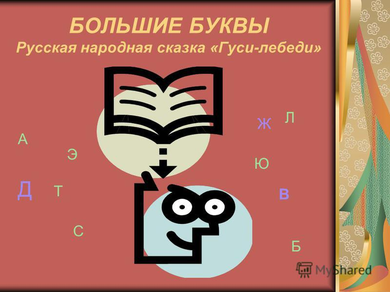 БОЛЬШИЕ БУКВЫ Русская народная сказка «Гуси-лебеди» А Э С Т Ю Л Б Д Ж В