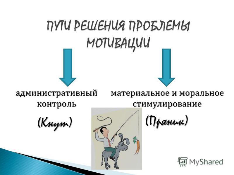 административный контроль (Кнут) материальное и моральное стимулирование (Пряник)