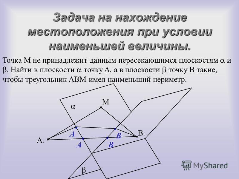Задача на нахождение местоположения при условии наименьшей величины. Точка M не принадлежит данным пересекающимся плоскостям и. Найти в плоскости точку A, а в плоскости точку B такие, чтобы треугольник ABM имел наименьший периметр. M B A B1B1 A1A1 A
