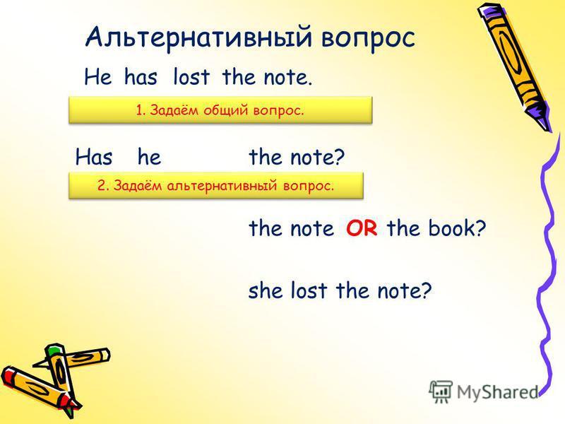 Альтернативный вопрос 1. Задаём общий вопрос. Hehaslostthe note. Hashethe note? 2. Задаём альтернативный вопрос. the noteORthe book? she lost the note?