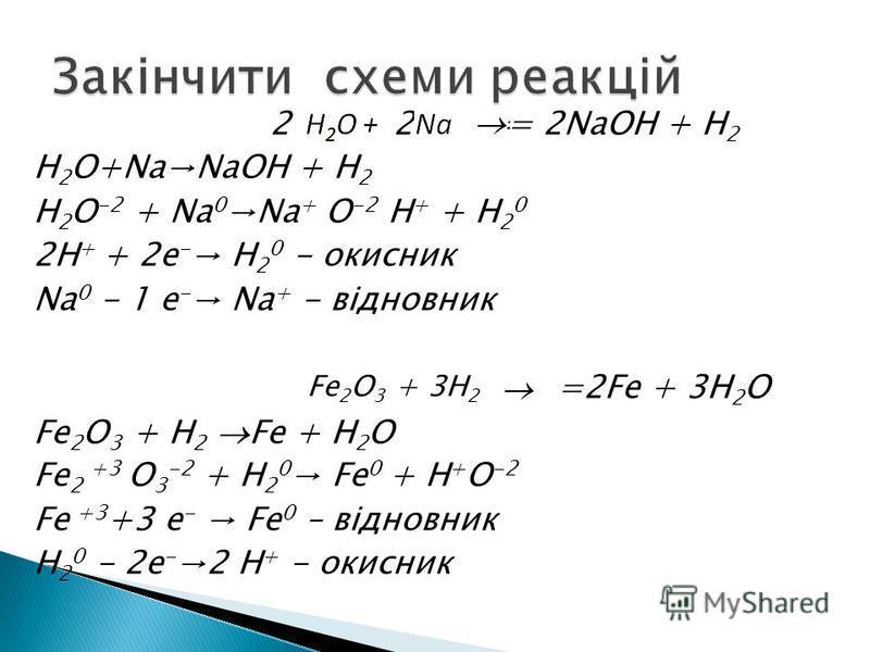 2 2 = 2NaOH + H 2 H 2 O+NaNaOH + H 2 H 2 O -2 + Na 0 Na + O -2 H + + H 2 0 2H + + 2e - H 2 0 - окисник Na 0 - 1 e - Na + - відновник =2Fe + 3H 2 O Fe 2 O 3 + H 2 Fe + H 2 O Fe 2 +3 O 3 -2 + H 2 0 Fe 0 + H + O -2 Fe +3 +3 e - Fe 0 – відновник H 2 0 -