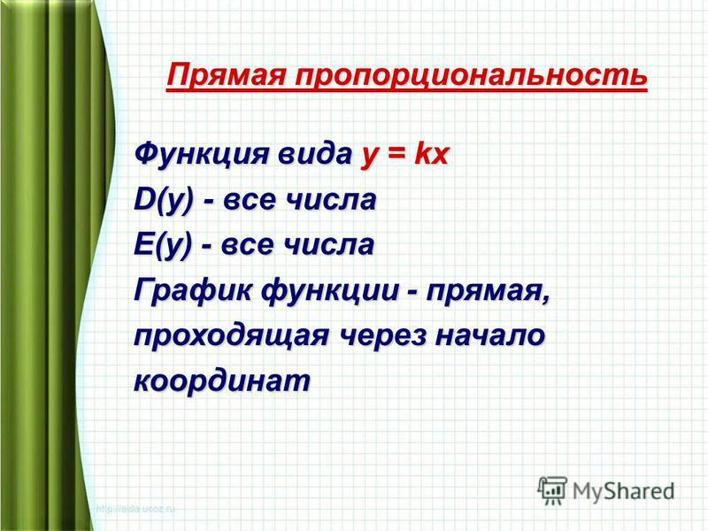 Прямая пропорциональность Функция вида у = kх D(у) - все числа E(у) - все числа График функции - прямая, проходящая через начало координат