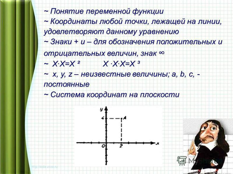 ~ Понятие переменной функции ~ Координаты любой точки, лежащей на линии, удовлетворяют данному уравнению ~ Знаки + и – для обозначения положительных и отрицательных величин, знак ~ Знаки + и – для обозначения положительных и отрицательных величин, зн