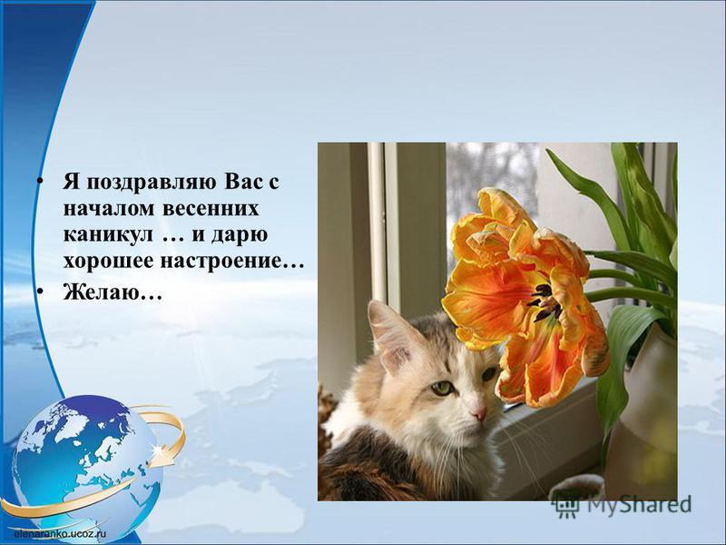 Я поздравляю Вас с началом весенних каникул … и дарю хорошее настроение… Желаю…