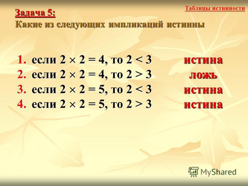 Задача 5: Какие из следующих импликаций истинны 1. если 2 2 = 4, то 2 < 3 2. если 2 2 = 4, то 2 > 3 3. если 2 2 = 5, то 2 < 3 4. если 2 2 = 5, то 2 > 3 истина ложь истина истина Таблицы истинности