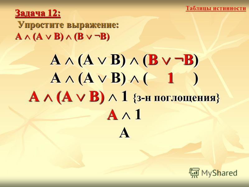 Задача 12: Упростите выражение: А (А В) (В ¬В) А (А В) (В ¬В) А (А В) ( 1 ) А (А В) 1 {з-н поглощения} А 1 А А (А В) (В ¬В) Таблицы истинности