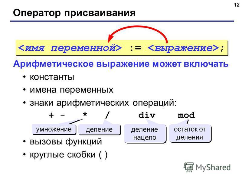 12 Оператор присваивания Арифметическое выражение может включать константы имена переменных знаки арифметических операций: + - * / div mod вызовы функций круглые скобки ( ) умножение деление деление нацело остаток от деления := ;