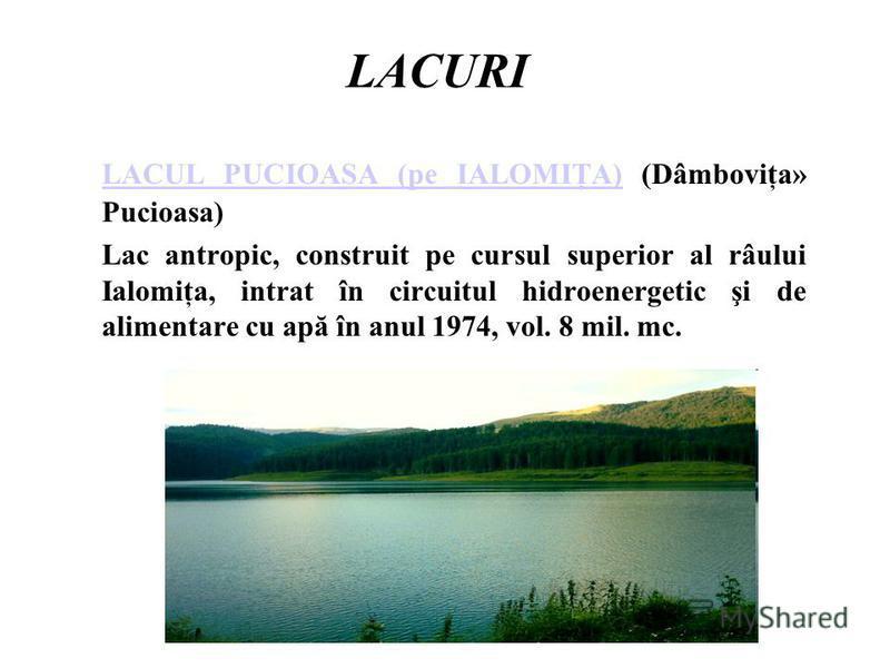 LACURI LACUL PUCIOASA (pe IALOMIŢA)LACUL PUCIOASA (pe IALOMIŢA) (Dâmboviţa» Pucioasa) Lac antropic, construit pe cursul superior al râului Ialomiţa, intrat în circuitul hidroenergetic şi de alimentare cu apă în anul 1974, vol. 8 mil. mc.