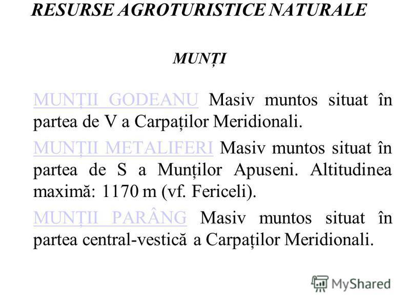 RESURSE AGROTURISTICE NATURALE MUNŢI MUNŢII GODEANUMUNŢII GODEANU Masiv muntos situat în partea de V a Carpaţilor Meridionali. MUNŢII METALIFERIMUNŢII METALIFERI Masiv muntos situat în partea de S a Munţilor Apuseni. Altitudinea maximă: 1170 m (vf. F