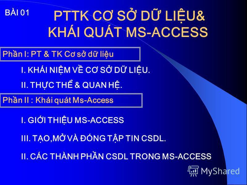PTTK CƠ S D LIU& KHÁI QUÁT MS-ACCESS I. GII THIU MS-ACCESS II. CÁC THÀNH PHN CSDL TRONG MS-ACCESS III. TO,M VÀ ĐÓNG TP TIN CSDL. Phn II : Khái quát Ms-Access BÀI 01 Phn I: PT & TK Cơ s d liu I. KHÁI NIM V CƠ S D LIU. II. THC TH & QUAN H.
