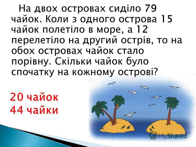 На двох островах сиділо 79 чайок. Коли з одного острова 15 чайок полетіло в море, а 12 перелетіло на другий острів, то на обох островах чайок стало порівну. Скільки чайок було спочатку на кожному острові? 20 чайок 44 чайки