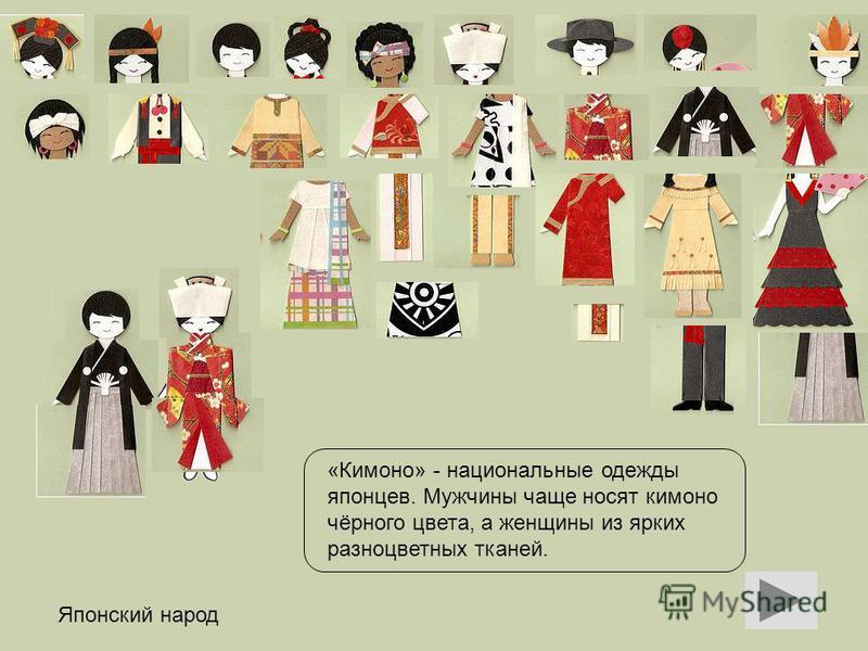 Японский народ «Кимоно» - национальные одежды японцев. Мужчины чаще носят кимоно чёрного цвета, а женщины из ярких разноцветных тканей.