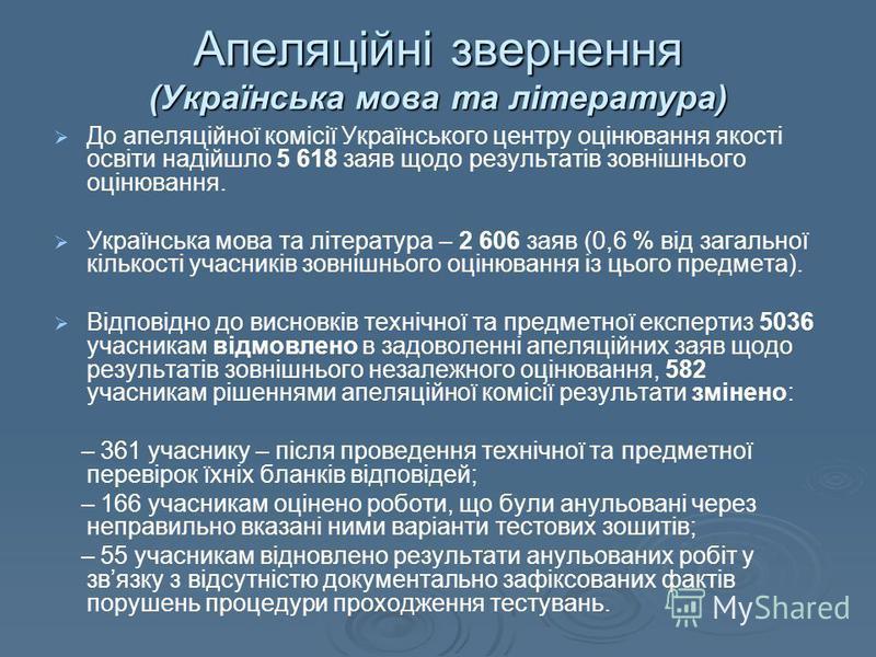Апеляційні звернення (Українська мова та література) До апеляційної комісії Українського центру оцінювання якості освіти надійшло 5 618 заяв щодо результатів зовнішнього оцінювання. Українська мова та література – 2 606 заяв (0,6 % від загальної кіль