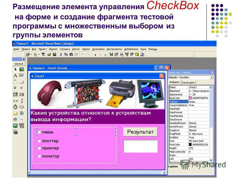 Размещение элемента управления CheckBox на форме и создание фрагмента тестовой программы с множественным выбором из группы элементов