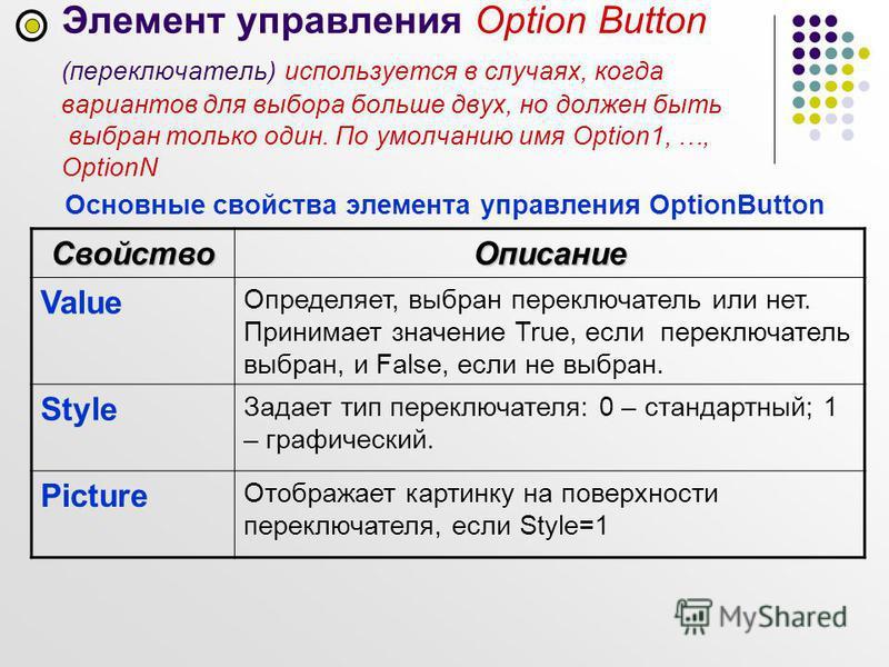 Элемент управления Option Button (переключатель) используется в случаях, когда вариантов для выбора больше двух, но должен быть выбран только один. По умолчанию имя Option1, …, OptionN Основные свойства элемента управления OptionButton Свойство Описа
