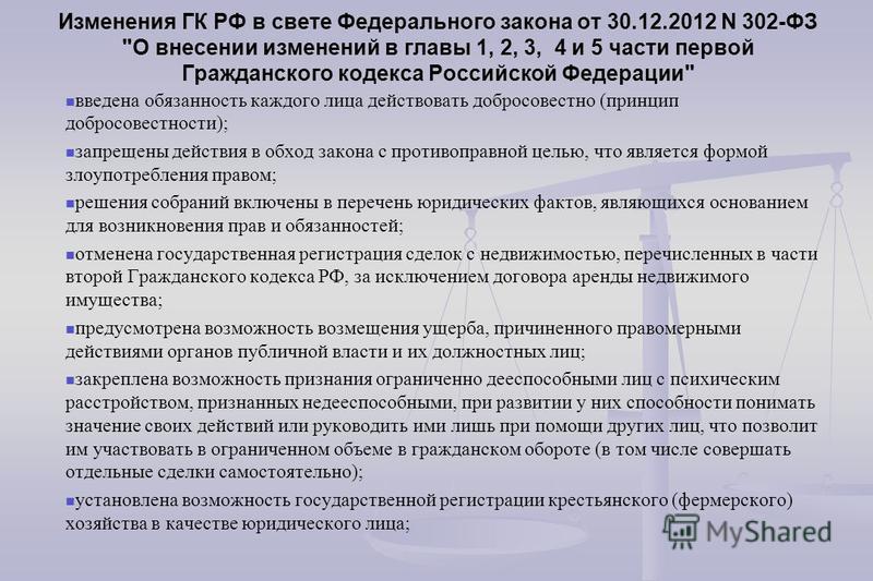 Изменения ГК РФ в свете Федерального закона от 30.12.2012 N 302-ФЗ