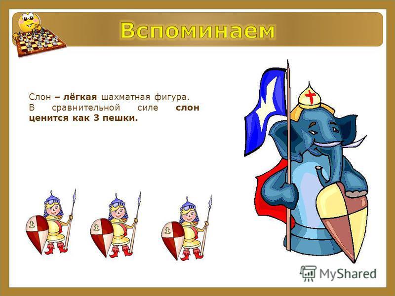 Слон – лёгкая шахматная фигура. В сравнительной силе слон ценится как 3 пешки.