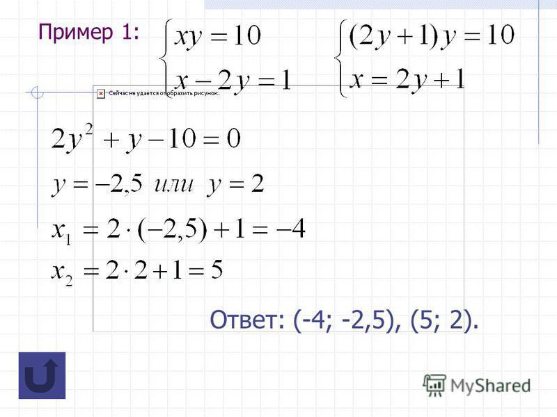Пример 1: Ответ: (-4; -2,5), (5; 2).