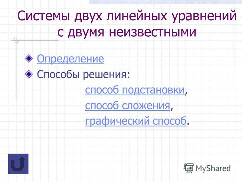 Системы двух линейных уравнений с двумя неизвестными Определение Способы решения: способ подстановки,способ подстановки способ сложения,способ сложения графический способ.графический способ