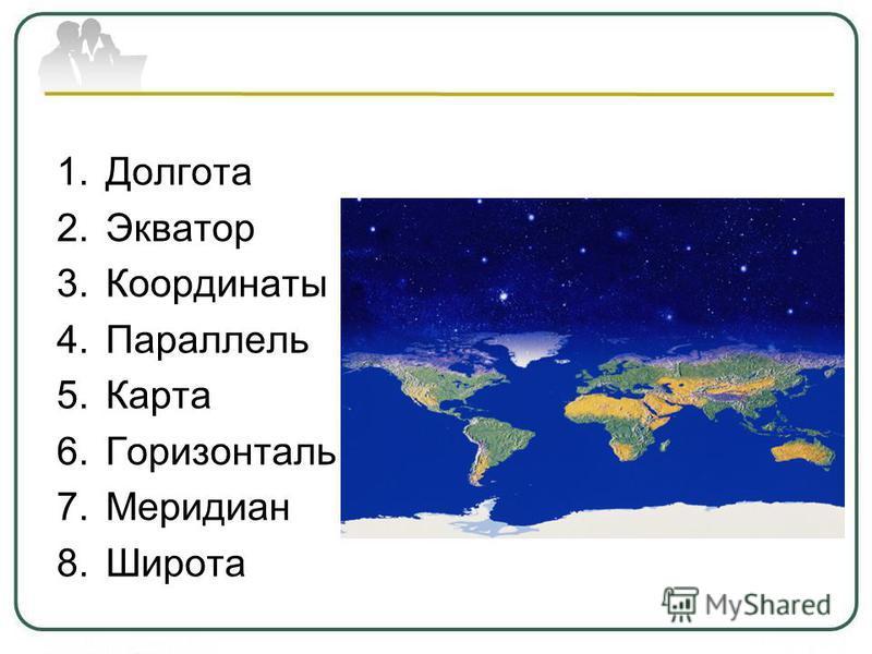 1. Долгота 2. Экватор 3. Координаты 4. Параллель 5. Карта 6. Горизонталь 7. Меридиан 8.Широта
