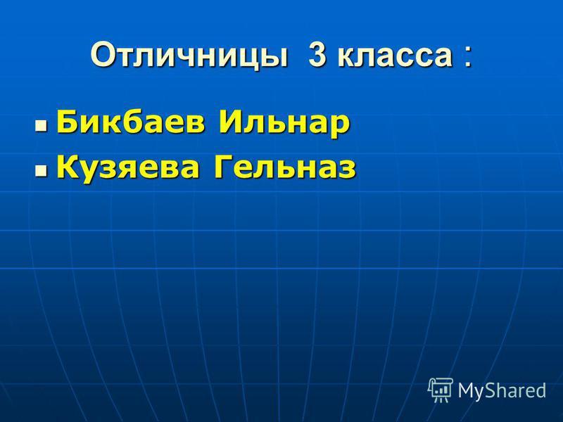 Отличницы 3 класса : Бикбаев Ильнар Бикбаев Ильнар Кузяева Гельназ Кузяева Гельназ