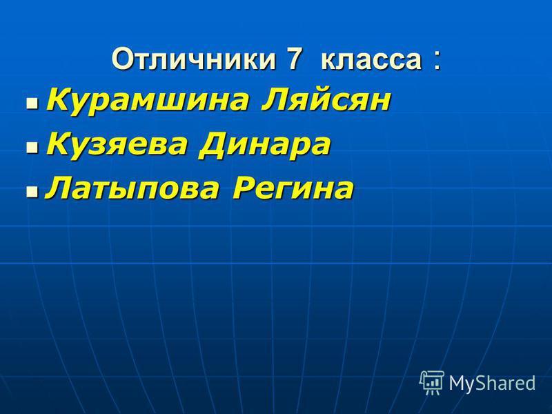 Отличники 7 класса : Курамшина Ляйсян Кузяева Динара Латыпова Регина